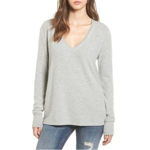 BP V Neck Long Slve Sweater Heather Grey NWT